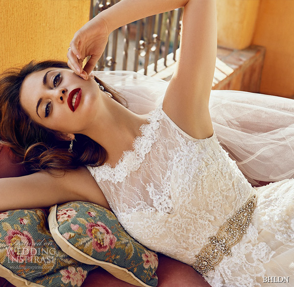 bhldn spring 2015 wedding dresses hollywood sleeveless bateau scalloped neckline tulle overlay lace ivory a line bridal gown georgia day in the sun hollywood photo shoot zoom