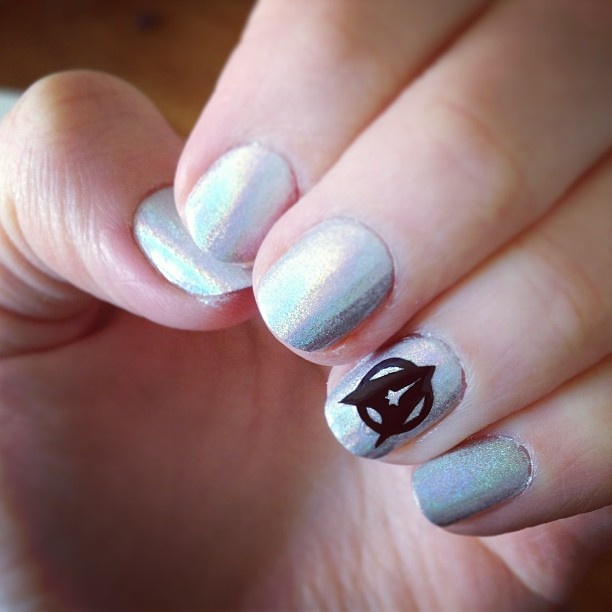 Silver Star Trek Nail Design