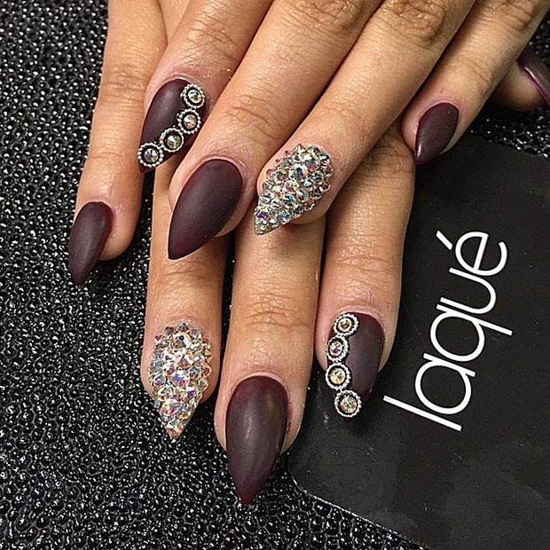 Dark Brown Rhinestones Stiletto Nails