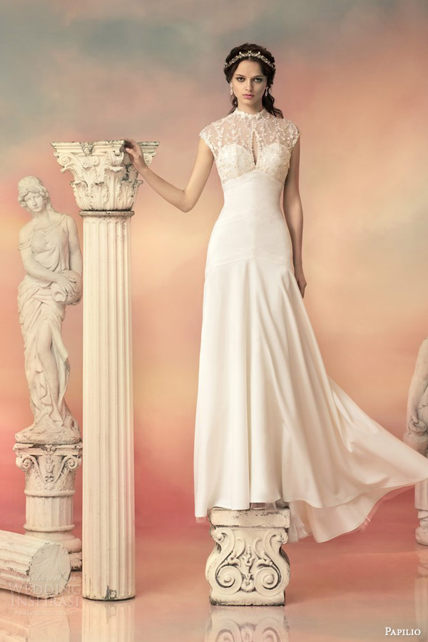 papilio bridal 2015 dionissia sheath wedding dress beaded lace cap sleeve bodice