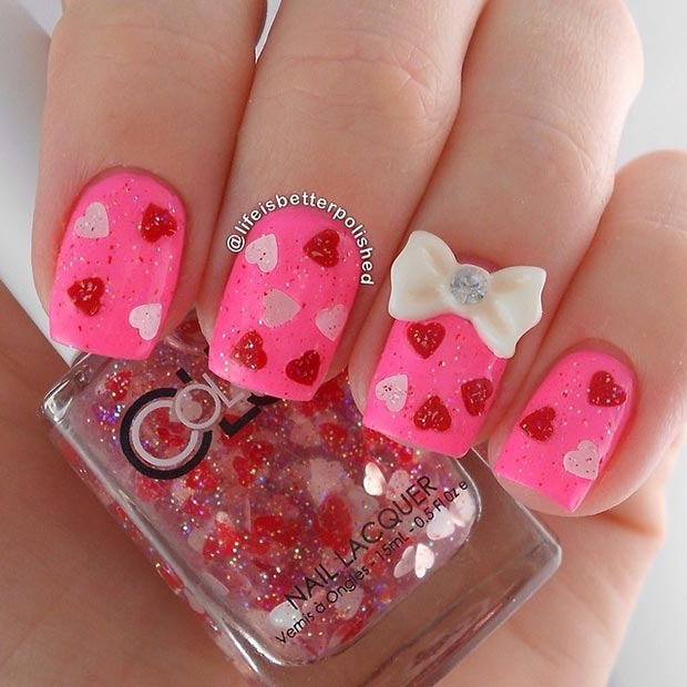 Pink Nails with Hearts