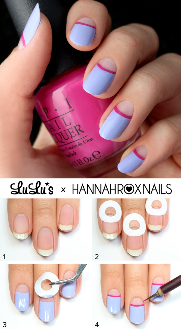 Fuchsia And Lavender Half Moon Nails - DIY