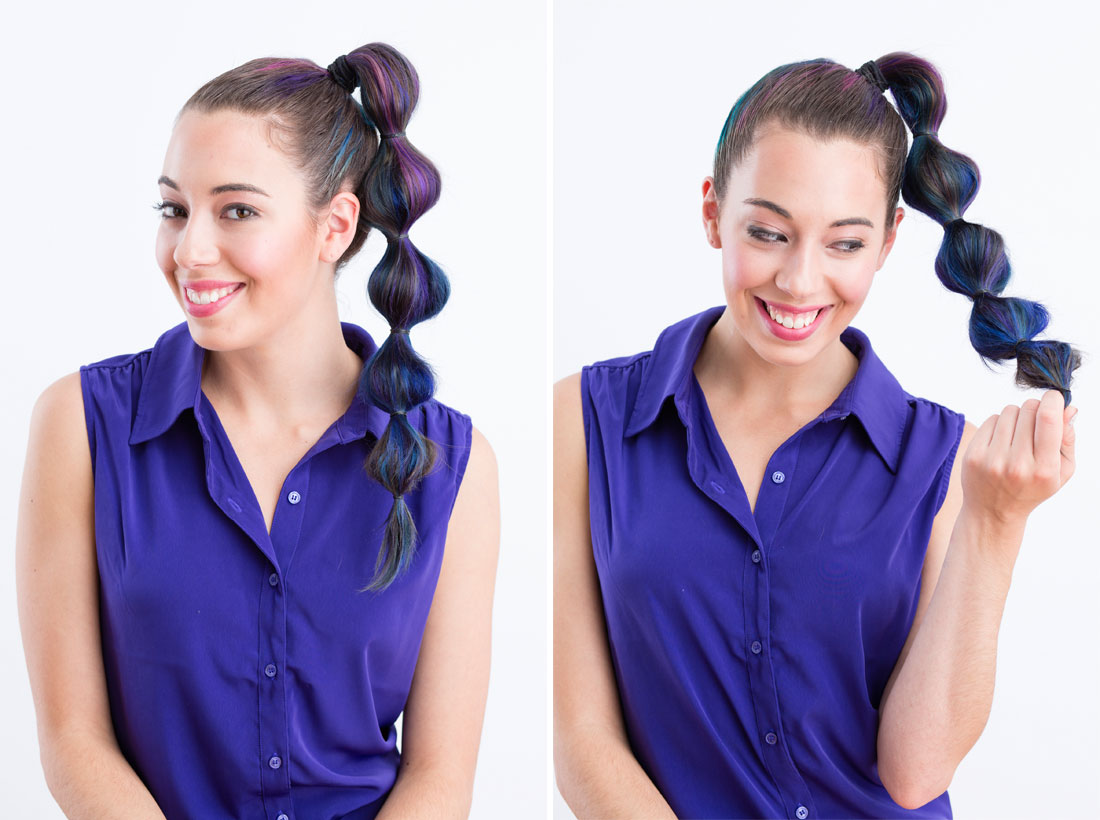 Segmented Ponytail Hairstyle with Highlight