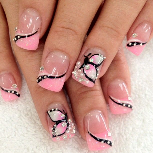 Light Pink Butterfly Nail Design