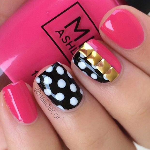 Pink and Black Nail Design for Short Nails