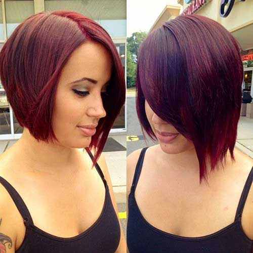 Red Colored Asymmetric Bob Haircut