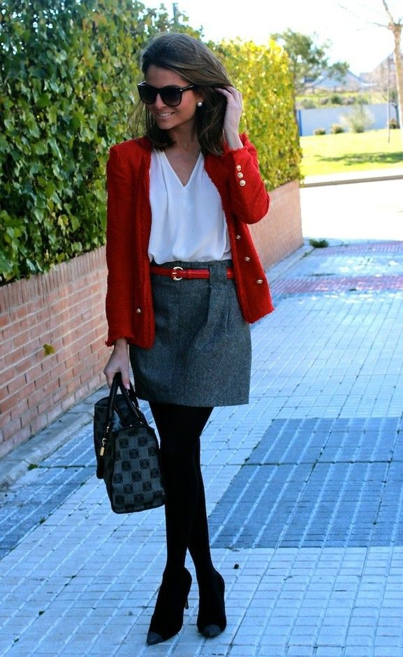 red blazer and gray skirt How to Come Up With Your Own Unique Style
