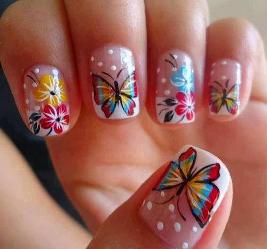 Butterfly Nail Design for Clear Nails