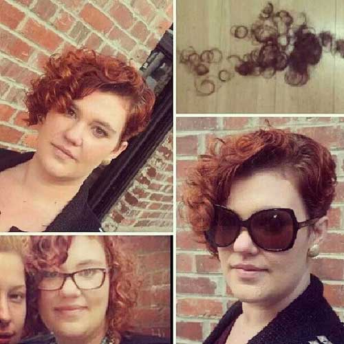 Red Asymmetrical Cut on Naturally Curly Hair