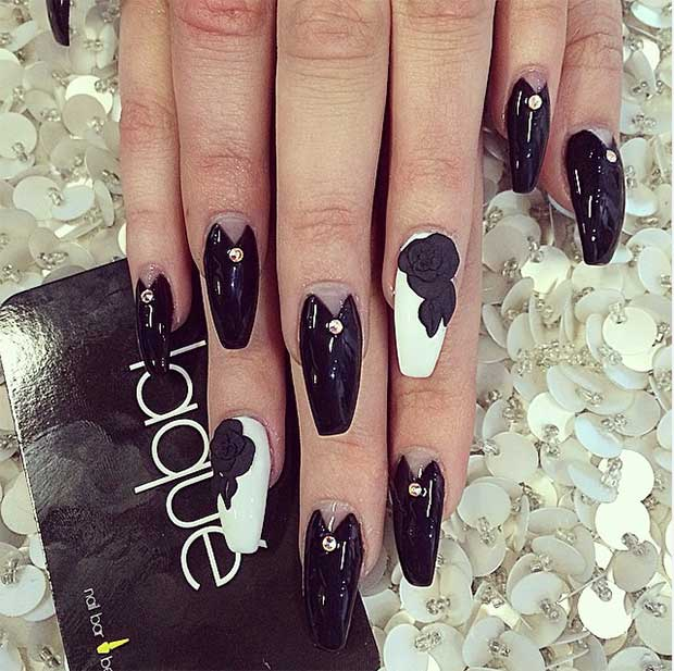 3D Rose Coffin Nails