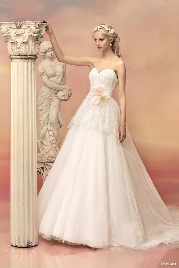 papilio bridal 2015 adonia strapless ball gown wedding dress lace peplum bodice