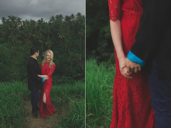 red lace wedding dress - photo by Jonas Peterson http://ruffledblog.com/exotic-garden-party-wedding-in-bali
