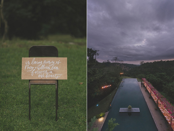 wedding signs - photo by Jonas Peterson http://ruffledblog.com/exotic-garden-party-wedding-in-bali