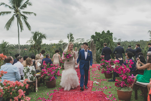 ceremony recessional - photo by Jonas Peterson http://ruffledblog.com/exotic-garden-party-wedding-in-bali