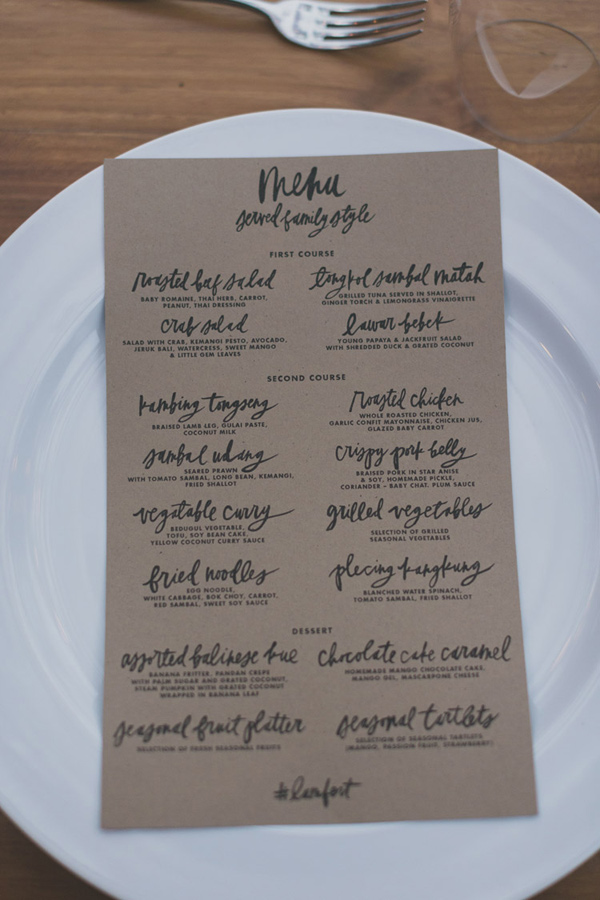 kraft paper menu - photo by Jonas Peterson http://ruffledblog.com/exotic-garden-party-wedding-in-bali