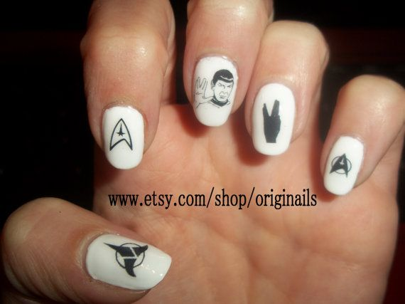 White Star Trek Nail Design