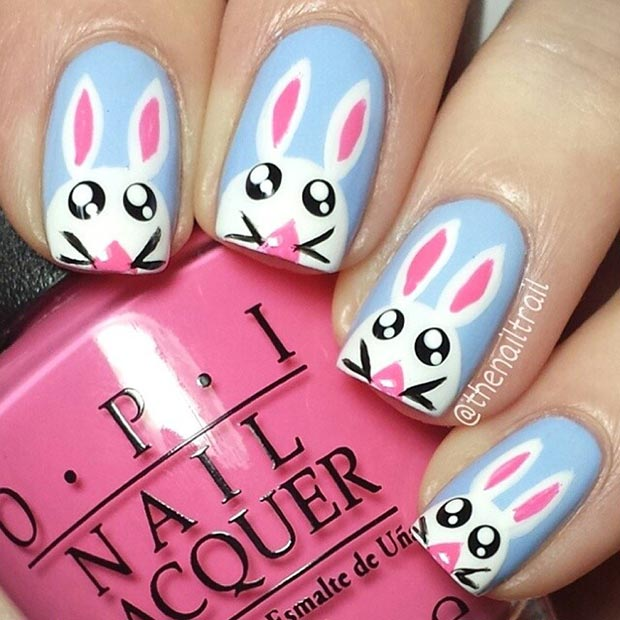 White and Blue Easter Bunny Nail Art