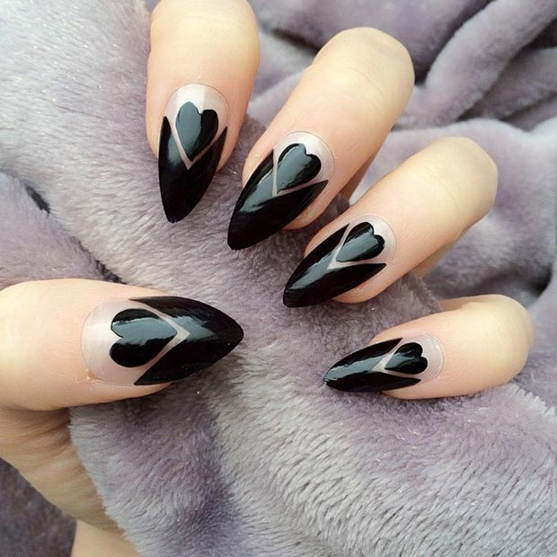 Black Hearts Stiletto Nails