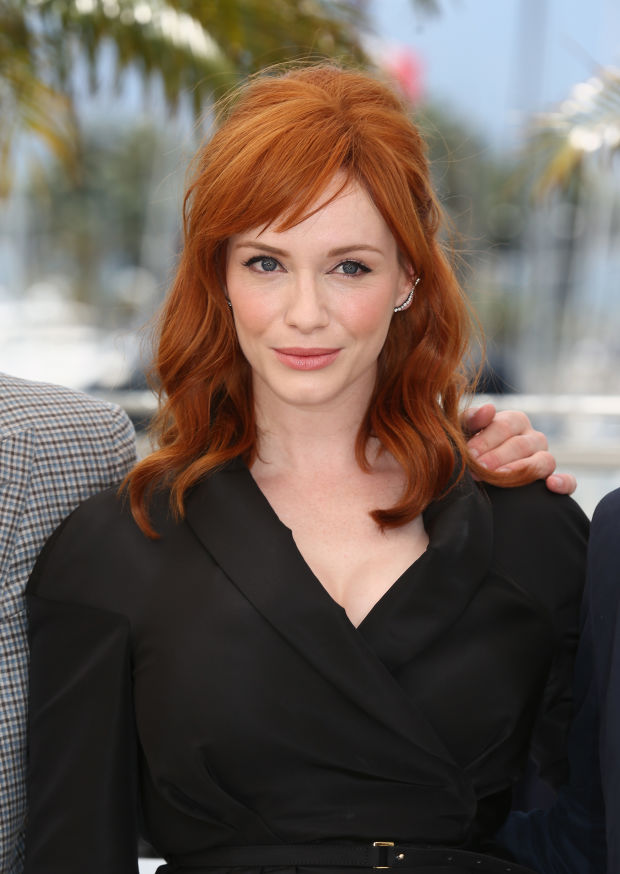 Christina Hendricks' bright copper hair at the 2014 photocall for 'Lost River'.