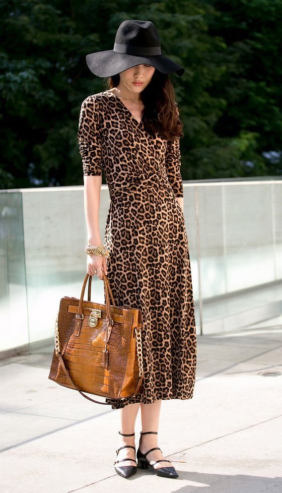 animal print dress and neutral accessories