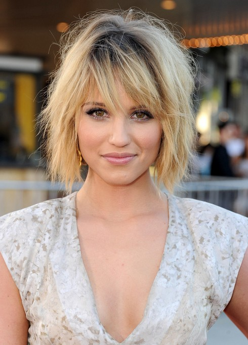 Dianna Agron Layered Bob Hairstyle - Popular Short Hairstyle for Thick Hair