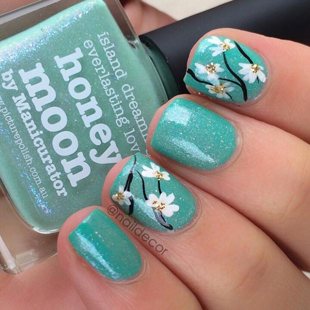 Flower Turquoise Nail Design