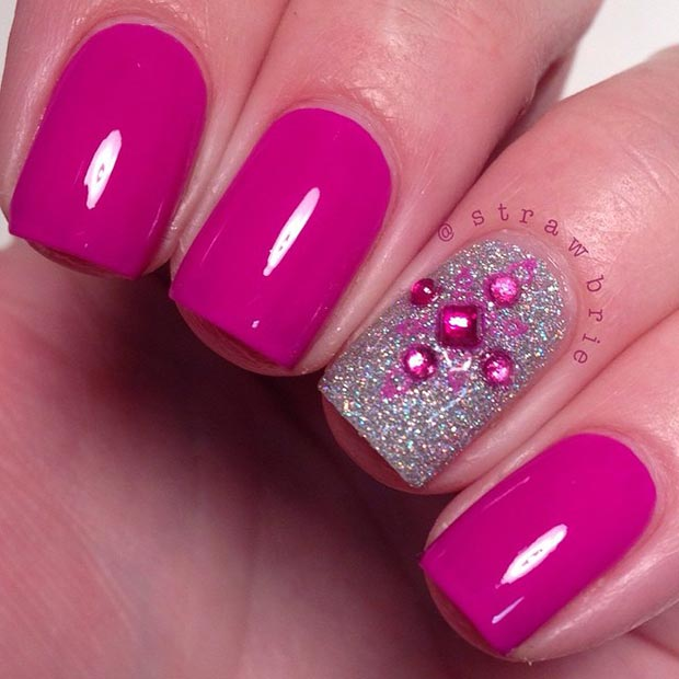 Pink and Silver Nail Design
