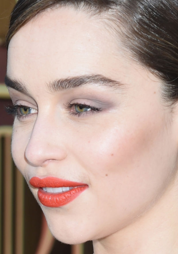 Emilia Clarke's soft shadow and defined cheekbones.