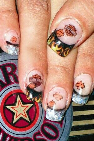 Colorful Harley Davidson Nail Design for French Manicure