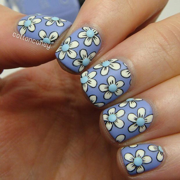 Matte Flower Nail Design for Short Nails