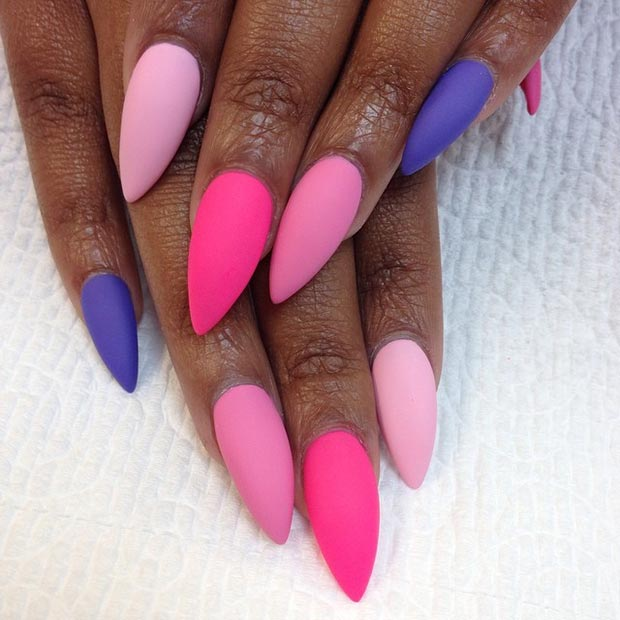 Colorful Matte Stiletto Nails