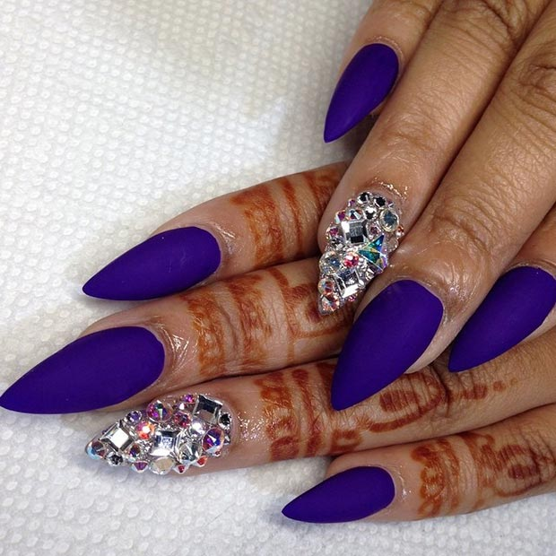 Matte Purple Rhinestones Stiletto Nail Design