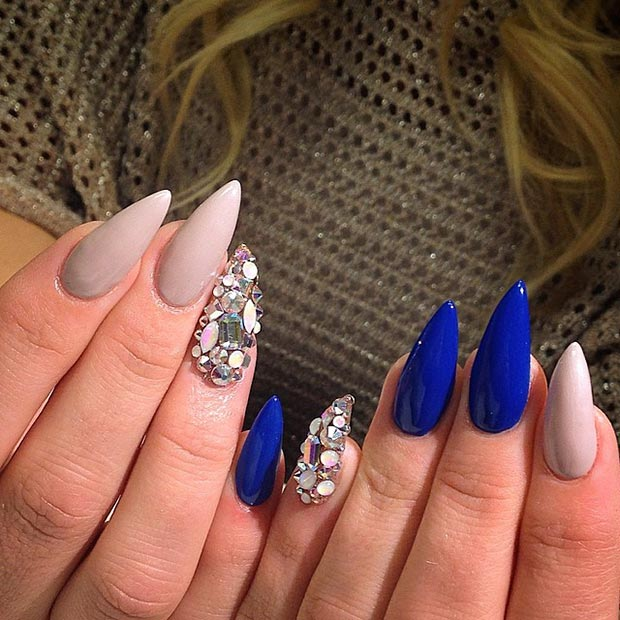 Blue Nude Rhinestones Stiletto Nails