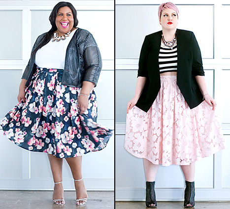 Eloquii tapped plus-size fashion models for their take on the midi skirt trend for spring.
