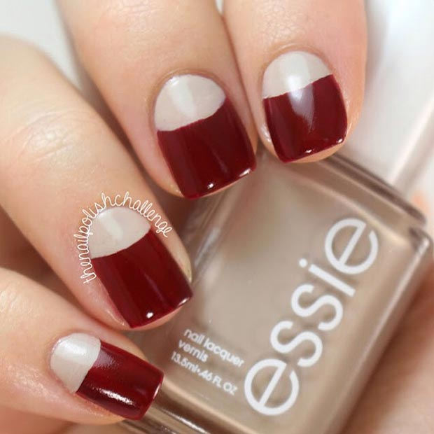 Dark Red Half Moon Nail Design