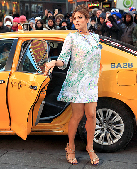 Eva Mendes Filming a commercial for her design label Nyc & Co in Times Square on March 3, 2015 in New York City.