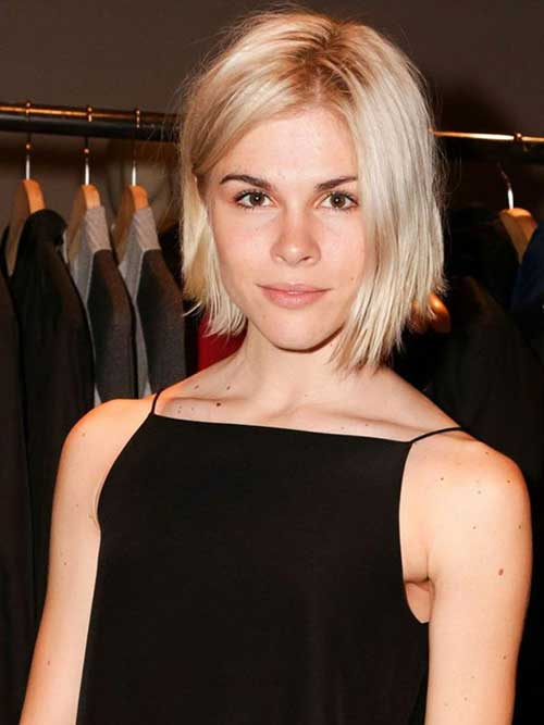 Choppy Chin Length Platinum Blonde Hair