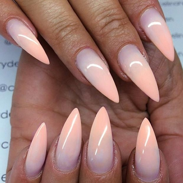 Ombre Peach Stiletto Nails
