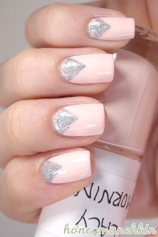 Pale Pink and Silver Nail Design