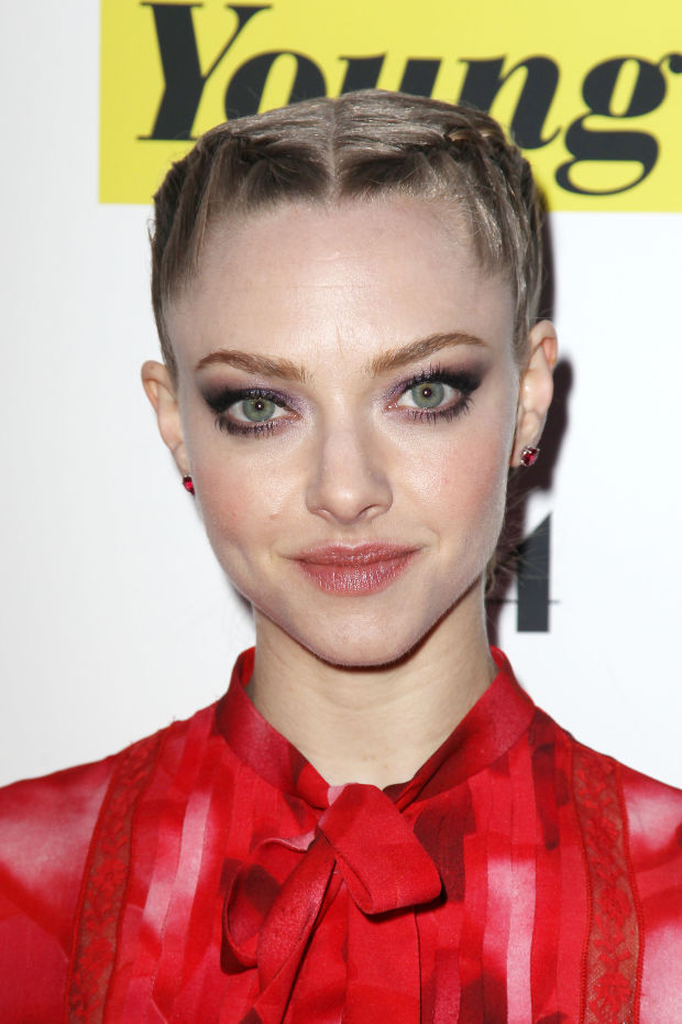 Amanda Seyfried's tight, French braided updo.