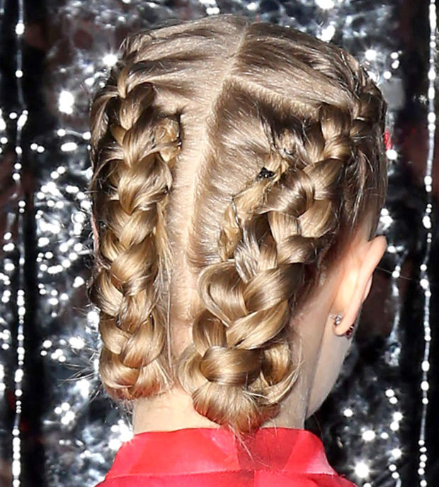 The back of Amanda Seyfried's braided updo.
