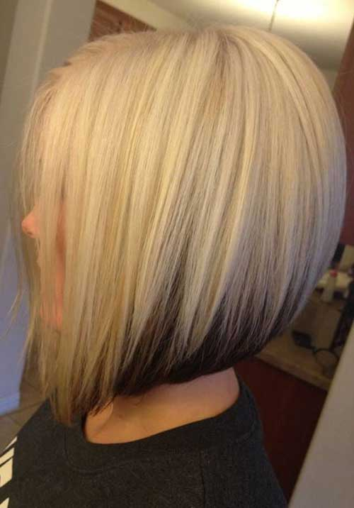 Two Colored Blonde Inverted Bob Hair