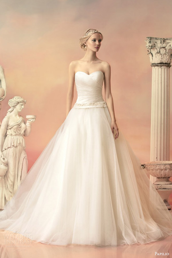 papilio bridal 2015 atlanta strapless ball gown wedding dress detachable train