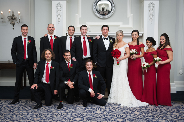 Chic Red Bridal Party