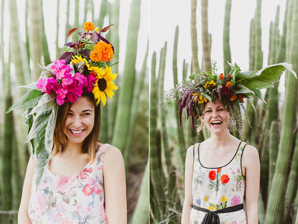 floral headdresses - photo by eplove http://ruffledblog.com/modern-boho-wedding-in-palm-springs