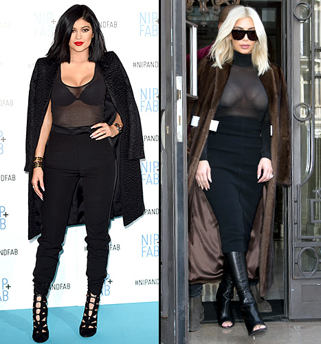 Kylie Jenner pulls off a trademark Kim Kardashian look with a sheer shirt and noticeable bra.