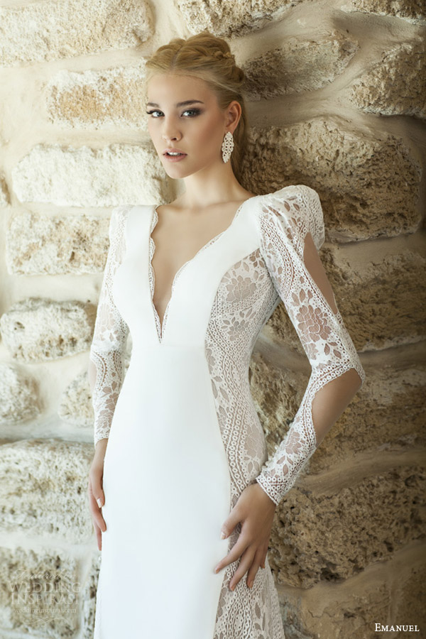 emanuel haute couture bridal 2015 sheath wedding dress deep v neckline long puff sleeves