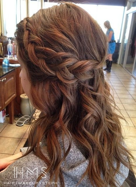 Half Up Braided Hairstyle for Medium Hair