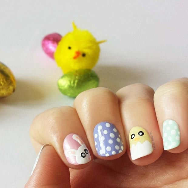 Easter Polka Dot Nail Design