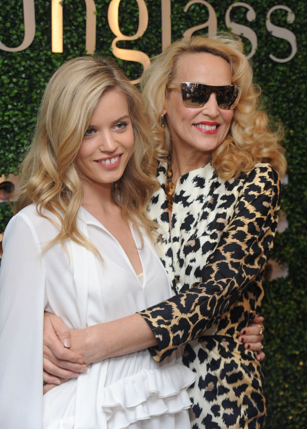 Georgia May Jagger and Jerry Hall at a Sunglass Hut event in 2013.